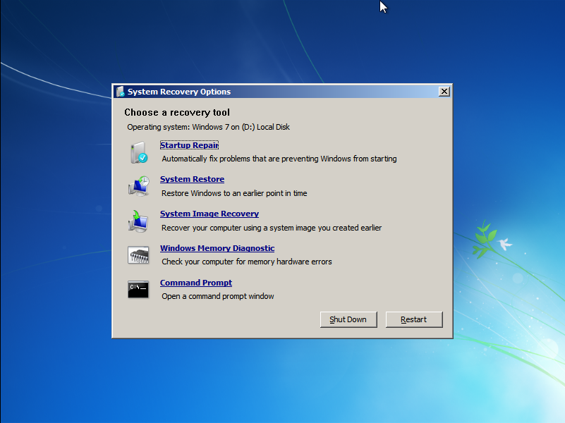 System Recovery Options after BitLocker