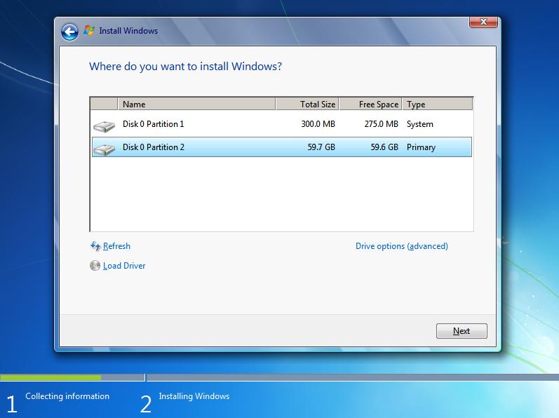 Install Windows Disk Partition for BitLocker