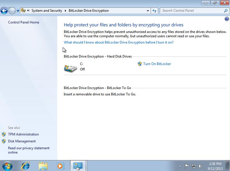 Enable BitLocker for Windows